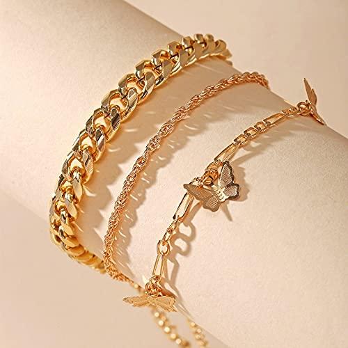 TSP Bracelet de cheville 2021 avec cœur et papillons - Pour la plage - Bijoux bohémiens - Chaîne dorée - Bracelet de cheville tendance pour femme - Couleur métallique : C09 01 70