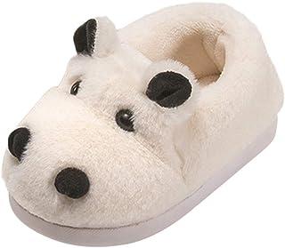 Toddler Kids Girls Boys Cute Slippers Cartoon Animal Soft Warm Plush Lining Non-Slip Winter House Shoes