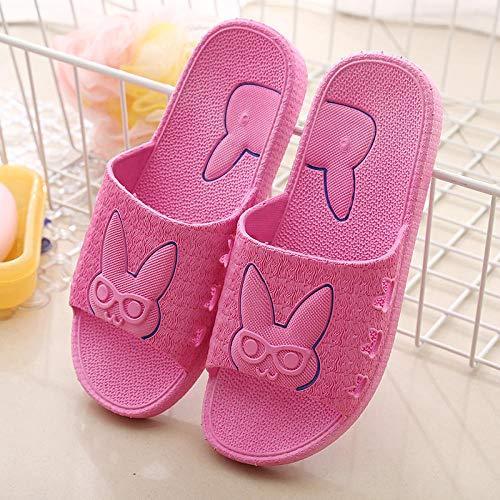 MDCGL Zapatillas De BañO Mujeres Zapatillas Antideslizantes de plástico para baño en casa para Mujer, Zapatos de Ducha de Hotel para Parejas, Chanclas para casa para Hombres, Rosa roja EU35-36
