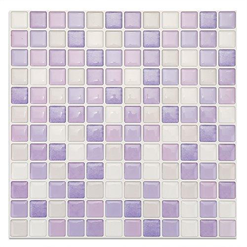 Haofy Azulejos Adhesivos de Mosaico 3D para Azulejos, Papel Tapiz extraíble, Azulejos autoadhesivos para Pared, baño para Cocina, Protector contra Salpicaduras Naranja, calcomanías cuadradas(yjc0006)