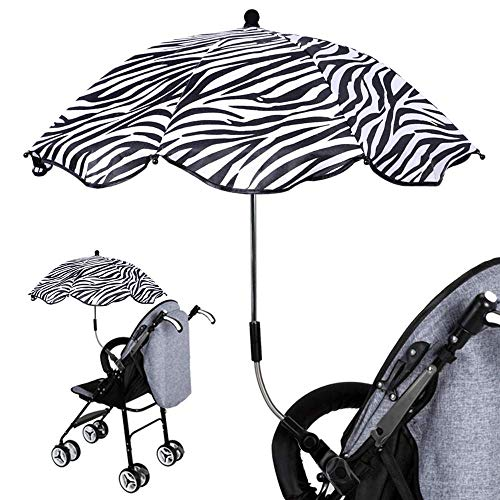 maimai Baby Stroller Parasol, Pushchair Parasol Umbrella with Adjustable Fixing Clamp, Safe Anti-UV Clip-On Universal Stroller Umbrella for Beach Chairs, Strollers, Wagons (Stripe)