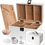 SHEROCK White Wooden Box, with Leather Carrying Handle Stash Box...