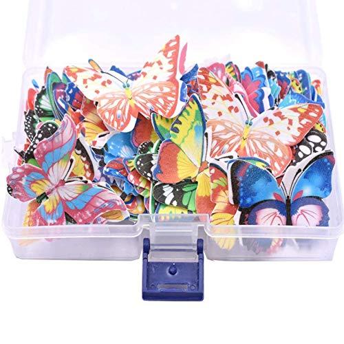 Etern 100 Piezas Mariposa Cake Adornos, Adornos para Mariposas Magdalenas, Wafer Paper Butterflies Mariposa, para Decoración de Pasteles, Bodas, Decoración de Alimentos
