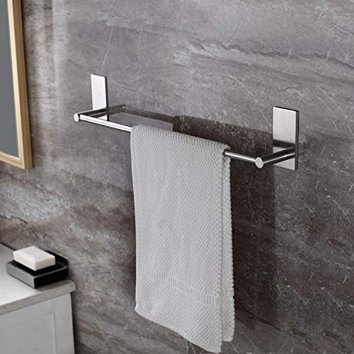 Velimax No Drill Towel Holder Stainless Steel Self Adhesive Bathroom Hanging Towel Bar Towel Rail with Hook Brushed Finish Wall Mount Contemporary Style