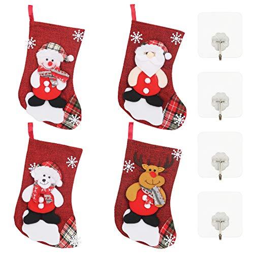 LANMOK 6Pcs Chaussette de Noel Rouges à Suspendre Bonbons Sac Cadeau de Noël Suspendue Bottes de Père Noël Classiques Père Noël Renne Bonhomme de Neige pour Décorations Sapin de Noël Cheminée