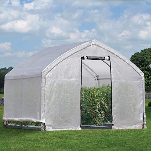 ShelterLogic Foliengewächshaus, Gewächshaus, Tomatenhaus 11,1 m² // 370x300x270 cm (BxTxH) // Folienhaus & Folienzelt