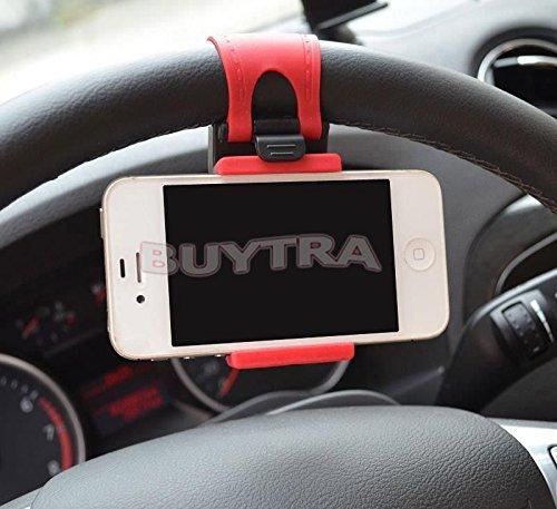 Comodo supporto in gomma per iPhone, iPod, smartphone, da fissare al volante dell'auto
