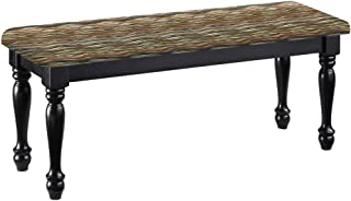 Traditional Farmhouse Style Dining Bench with Black Legs and a Padded Seat Cushion Featuring Your Favorite Novelty Themed Fabric Covered Bench Top (Southwest Wavy)