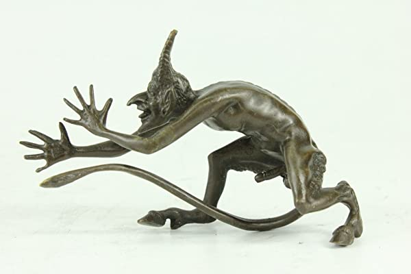 Handmade European Bronze Sculpture Satyr Devilish Oral Fantasy Mystic Devil Figurine Bronze Statue RL 015 Decor Collectible Gift