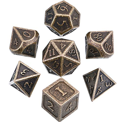 Hestya 7 Pieces Metal Dices Set DND Game Polyhedral Solid Metal D&D Dice Set with Storage Bag and Zinc Alloy with Enamel for Role Playing Game Dungeons and Dragons, Math Teaching (Antique Brass)