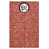 U&X Round Sign Platform 9 And 3/4 King's Cross Station Red Bricks Wall Party Backdrop,Secret Passage To The Magic School Decorative Door Curtain for Wizard Birthday Party Decor