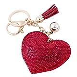 Soleebee Portachiavi in pelle cuore d'amore Bling Cristallo Portachiavi auto Fascino accessori per borse e Personalizzare Zaino con le nappe (Rosso)