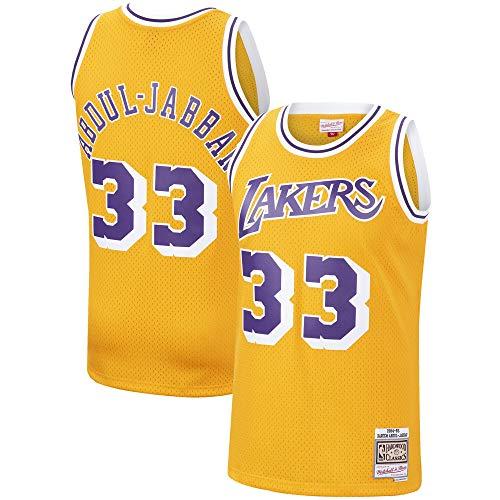 Mitchell & Ness Kareem Abdul-Jabbar Los Angeles Lakers 1984-85 Swingman Gold Replica Jersey (X-Large)