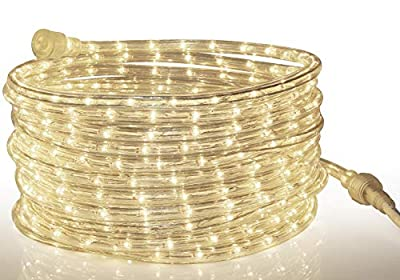Tupkee LED Rope Light - for Indoor and Outdoor use, 24 Feet (7.3 m) - 10MM Diameter - 144 LED Long Life Bulbs