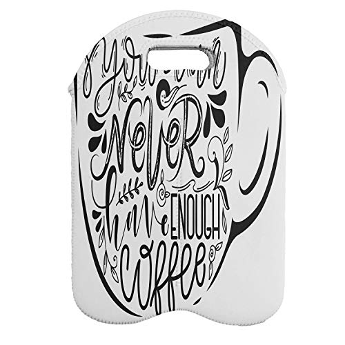 Lunarable Cafe Wine Bottle Carrier, You Can Never Have Enough Coffee Message on a Cup with Leaf Ornaments Design, Portable Neoprene Bag for Champagne and Water Bottles, 2 Bottles, Black and White