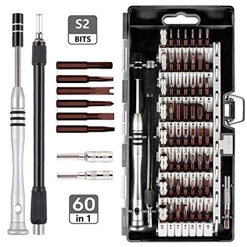 Linhon Feinmechaniker Schraubendreher Set S2 Stahl bits, 60 IN 1 Mini Präzisions Werkzeug set, Magnetisch Torx bit für Smartphone, Elektronik, Computer, Uhr, Brillen