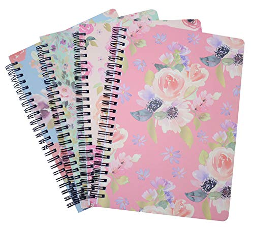 Yansanido 4 Pack 80 Sheets Spiral Notebook Journal 9.8 x 7 Inch (B5) College Ruled Lined Notebook White Paper for Students Office School Supplies (B5-4pcs flower)