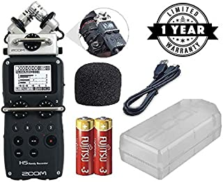 Zoom H5 Four-Track Handy Digital Recorder kit with Zoom Windscreen and Case + AA Batteries