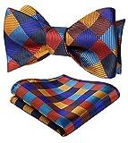 HISDERN Ensemble de noeuds papillon a carreaux en jacquard pour hommes, taille unique, orange/bleu/brun