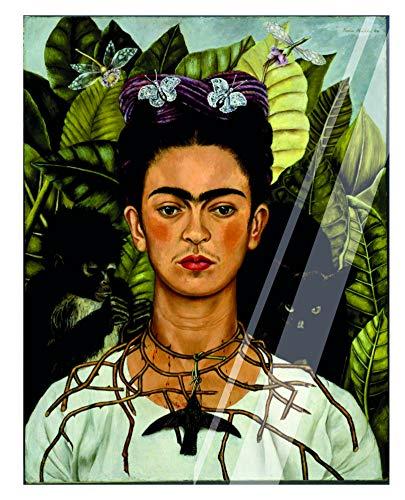 Vestin – schilderij van plexiglas – Frida Kahlo, zelfportret met halsketting van stekers – decoratie voor thuis A3 Solo Targhetta
