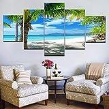 HD Stampato 5 Pezzi Di Tela Maldive Arte Isole Palma Oceano Dipingere Quadri A Parete For Soggiorno Decorazione Modulare Quadro su tela (Size : 30x40 30x60 30x80cm)