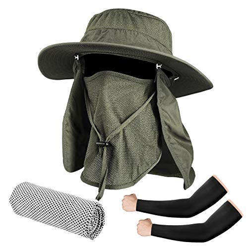 Seektop Fishing Hat, UPF 50 Protection Sun Hat with Removable Neck Flap and Face