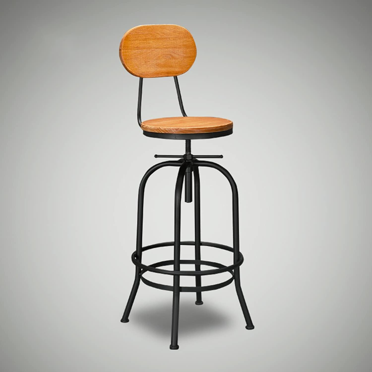 Adjustable Bar Stool, 100% Mango Wood Revolving Seat with Black Metal Frame, 68-90cm High