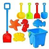 flouris Juguetes de playa Juego de juguetes de arena, Verano Kids Bucket Set Juguetes ABS Kits de herramientas al aire libre de plástico con tamiz, palas, rastrillos, lata de riego, moldes de animales