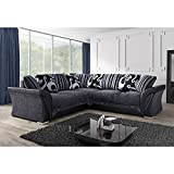 Shannon/Farrow Corner Sofa Grey /c2c / 230 cm/made in EU/Fire resistant/Black <span class='highlight'>Fabric</span> Chenille Designer Settee