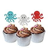 MonMon & Craft 24 Pcs Octopus Cupcake Toppers for Children Birthday / Baby Shower Party / Leaving / Ocean Sea Theme Party Cake Decorations / Silver Red Sky Blue Glitter Underwater World Cupcake Toppers