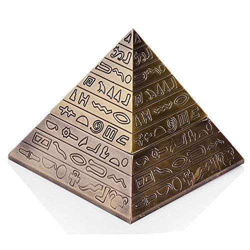 ZCCLCH Cenicero creativo elegante retro pirámide cenicero con tapa, cenicero autoextintor, regalos únicos o arte decorativo para el hogar, decoración de la personalidad regalo (color: C)