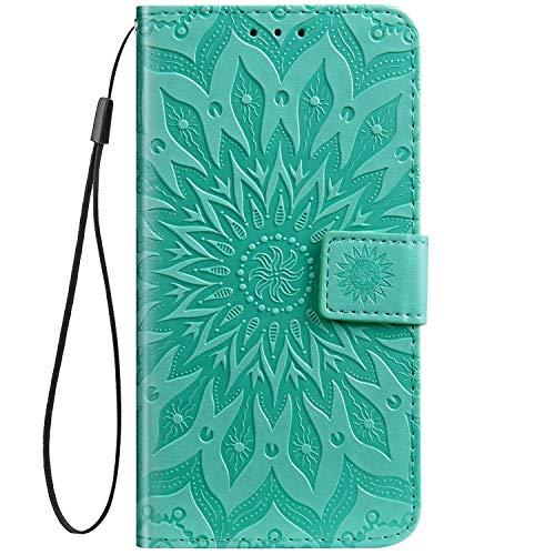 Kompatibel mit Hülle Sony Xperia XA1 Ultra Lederhülle Leder Flip Hülle Handy Schutzhülle Handyhülle Brieftasche Ledertasche Retro Sonnenblume Blumen Prägung Muster Klapphülle Handytasche,Grün