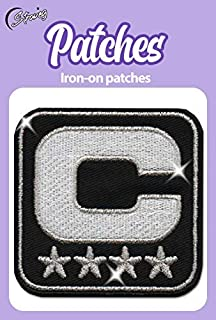 Iron On Patches - Stars Captain Leader Silver Metallized Threads Iron On Patch Embroidered Applique Star Logo 3