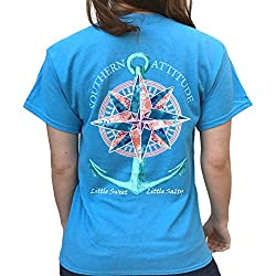 Southern Attitude Compass Rose Anchor Sapphire Blue Short Sleeve Shirt