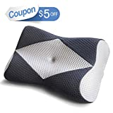 Mkicesky Memory Foam Pillow for Sleeping, Cervical Contour Orthopedic Pillow Relief Neck & Shoulder Pain Ergonomic Bed Pillow for Side/Back/Stomach Sleeper - Silver Gray