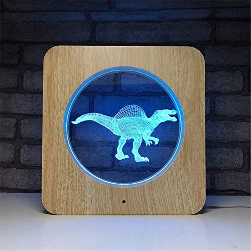 Illusion LED Lampe 3D Cadre photo en bois acrylique avec illumination d'optique en couleurs 7 LED Veilleuse avec télécommande programmée et écran tactile pour table de bureau avec câble USB et aliment