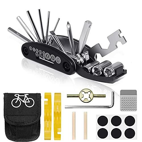 VICKSONGS Kit Riparazione per Bici, Kit Riparazione Camera d'aria Bici, 16 in 1 Attrezzo Multifunzione da Bici con Kit di Patch e Leve del Pneumatico, Kit di Attrezzi per Riparazione della Bicicletta