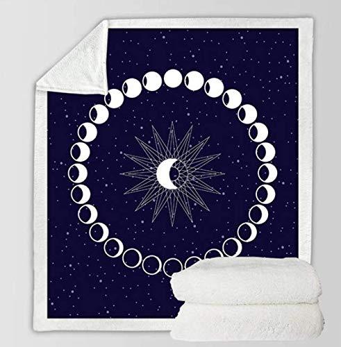 CTBIOM Moon Eclipse Changing Throw Decke Galaxy Printed Sherpa Decke für Couch Landscape Bedding Throw 150X200Cm
