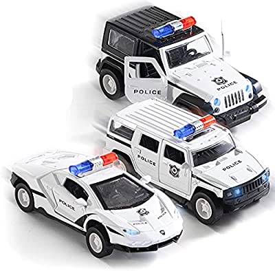 Pullback Diecast Police SUV Jeep and Sedan with Lights