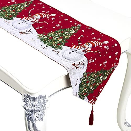 Mikqky Tovaglia da Cintura Tovaglia,Tovaglia Natalizia Rossa con Neve Bianca, Adatto per Forniture per Feste di Matrimonio in Famiglia (12,99 x 72,04 Pollici)