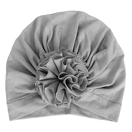 VIccoo baby geboren baby katoen tulband hoed geplooid gerimpeld effen kleur zachte hoofddoek schattig bloem peuter muts foto rekwisieten - paars rood
