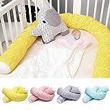 Nuevo parachoques de cama de bebé recién nacido de 2 M de longitud, tela de algodón puro suave, almohada larga segura, parachoques de cuna, valla, protector de cuna para niños-Amarillo