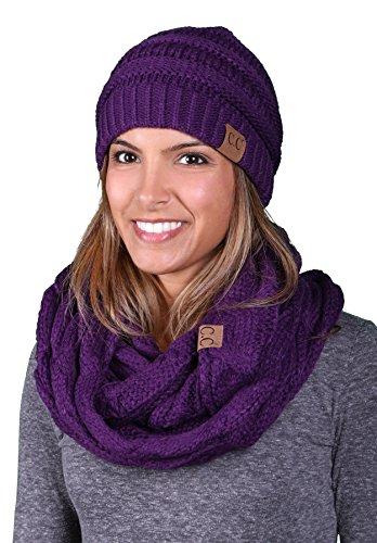 Regular Slouchy Beanie Hat Matching Scarf Set Bundle - Dark Purple