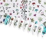 LINVINC Autocollants à Ongles - 24 Pcs Fleurs Papillon Rose Ete Elégant Stickers Ongles Nail Art Filles Femmes DIY Décoration Water Decal