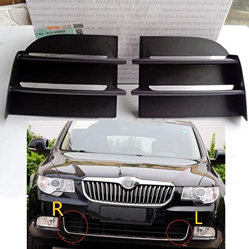 JDJD Auto Nebelscheinwerfergrill Fit for Skoda Superb 2009-2013 Front Lower Grille Auto Vent-Nebel-Lampen-Licht-Abdeckung Rahmen, Auto Nebelscheinwerfer Nebelscheinwerfergrills (Color : Left Side LH)