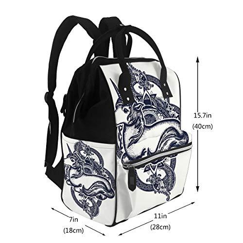 Nappy Bags Unicorn Dragon Tattoo Art Symbol of Dreams Tales Fantasies Unicorn Tribal Dragon Celtic Large Capacity Muti-Function Travel Backpack