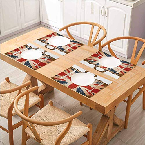 Non-Slip Insulation Placemat Washable Table Mats, Union Jack Vintage Travel Suitcase with British Flag London Ribbon and Crown Image, Easy to Clean Premium Table Mats for Dining Table, Set Of 6