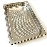 Gastronette GN Behälter Edelstahl Schale Gastronorm rechteckig 1/1 gelocht Gastrobehälter 65 mm eckig Geschirr für Dampfgarer Edelstahlbehälter Lochblech perforiert Gastro Behälter Chafing Dish