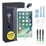 bokman für iPhone 6 Plus Weiß Komplettes Display Ersatzbildschirm LCD Glas Touchscreen Vormontiert mit Home Button, Frontkamera und Hörmuschel