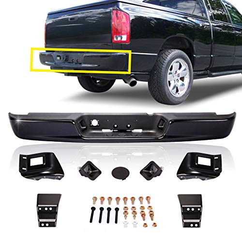 CarPartsDepot, Pickup Rear Step Bumper Replacement w/Pad Bracket License Lamp Black New, 364-17114-20-BK CH1103109 CH1103109